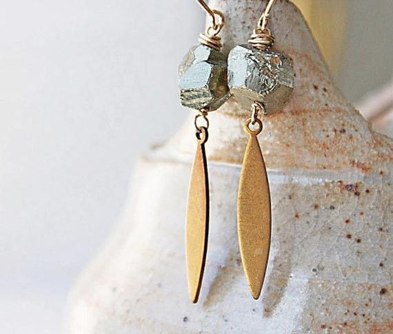 pyrite earrings, gold etsy vintage brass spike metallic, boho fashion