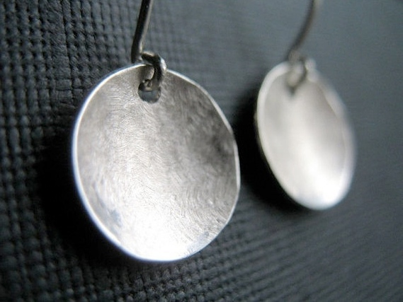 hammered sterling silver earrings round circles domed gift under 50
