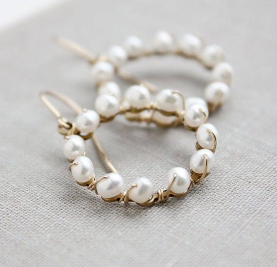 pearl earrings, white bridal jewelry wedding, round gold beaded, circle hoop beach