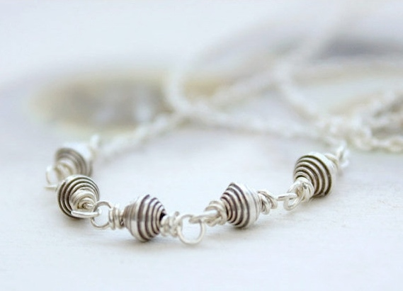 sterling silver necklace, simple beaded, layering, modern minimal everyday fashion