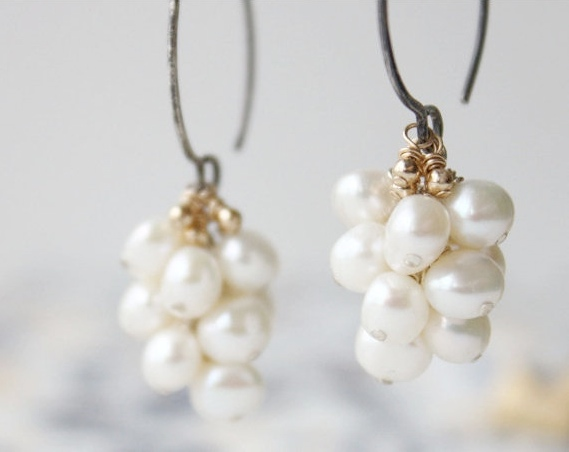 627987662 Freshwater pearl earrings, white wedding earrings, sterling silver mixed  metal, cluster, bridal