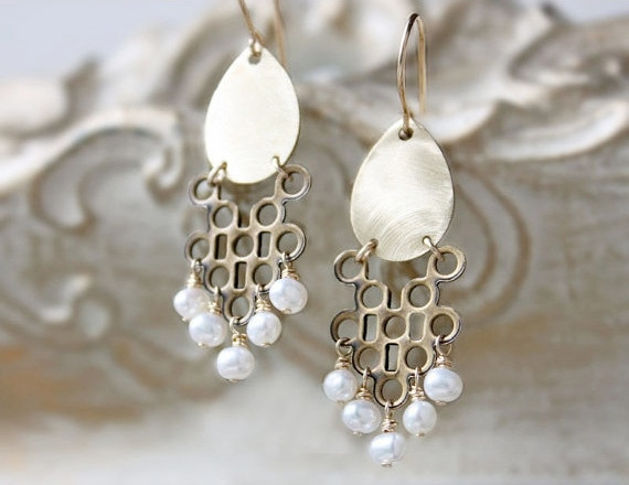 brass and pearl deco earrings, golden teardrop 14k gold filled tribal