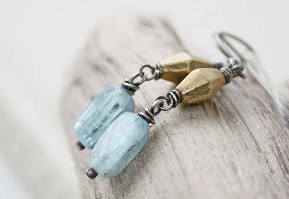blue beaded gemstone earrings, kyanite vintage brass oxidized silver boho beach