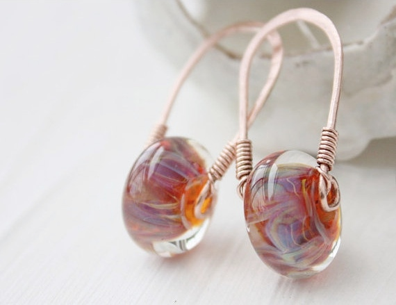 lampwork glass earrings, copper wirework cosmic pink orange blue, post stud sterling silver boho beach metalwork jewelry
