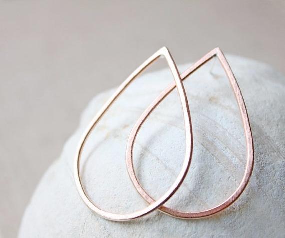 copper teardrop earrings, large hoop, metalwork jewelry everyday sterling silver posts studs, rust modern minimal jewelry