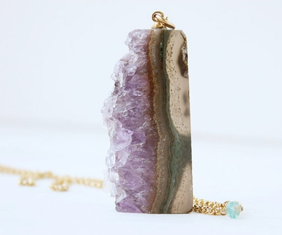 amethyst druzy pendant necklace, natural rough slice, purple, gold fill, statement boho spring fashion