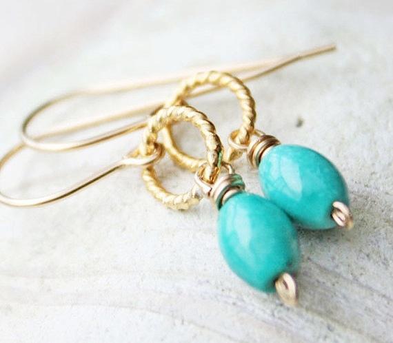 turquoise earrings, gold filled vermeil, light blue beach wedding