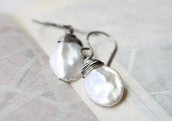 Pearl Earrings White Wedding Bridal Jewelry Sterling Silver Keshi Boho Beach June Birthday