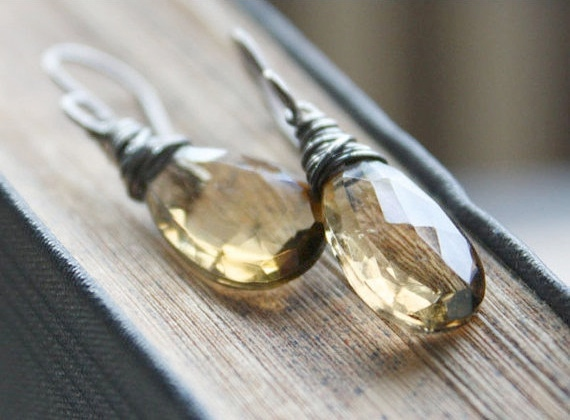 whiskey quartz gemstone earrings, golden yellow faceted, sterling silver, spring fashion