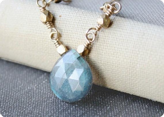 minimal jewelry labradorite necklace gemstone necklace 14k gold filled blue spring fashion