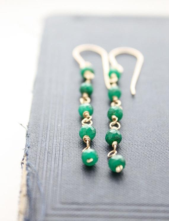 emerald earrings, green gemstone wire wrapped, 14k gold filled