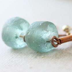 Blue glass earrings recycled, copper wire wrapped, gold post stud, beach boho