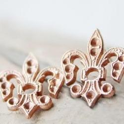 Summ fleur de lis earrings, vintage brass, sterling silver posts studs , copper rust delicate