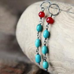 Turquoise earrings, blue and red, sterling silver post stud, long beaded fashion