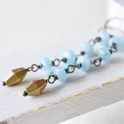 aquamarine jewelry earrings gemstone long sterling silver oxidized March birthstone spring fashion
