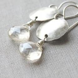 quartz gemstone earrings sterling silver bridal jewelry domed circle minimalist jewelry