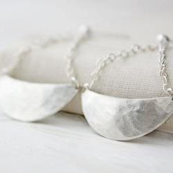 SSterling silver earrings, crescent moon swing earrings, stud post, hammered modern boho metalwork jewelry