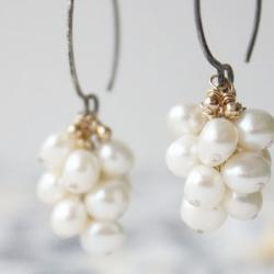 Freshwater pearl earrings, white wedding earrings, sterling silver mixed metal, cluster, bridal accessories june birthday