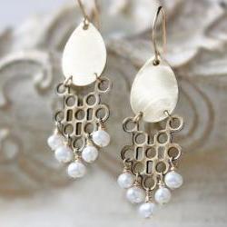 brass and pearl deco earrings, golden teardrop 14k gold filled tribal