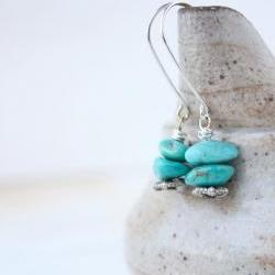 turquoise earrings,sterling silver. long chunky organic everyday simple boho beach summer fashion