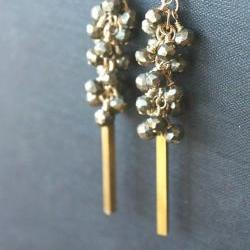 pyrite earrings beaded cluster, black gray gold, vintage brass