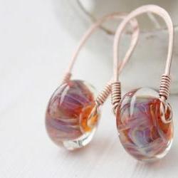 lampwork glass earrings, copper wirework cosmic pink orange blue, post stud sterling silver boho beach metalwork jewelry