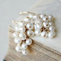 Freshwater pearl earrings, white wedding earrings, bridal jewelry, gold beaded cluster white june birthday