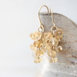 citrine earrings, beaded gemstone gold filled
