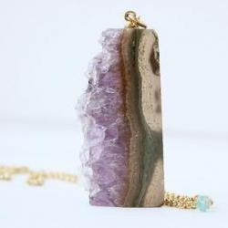 amethyst druzy pendant necklace, natural rough slice, purple, gold fill, statement boho spring fashion