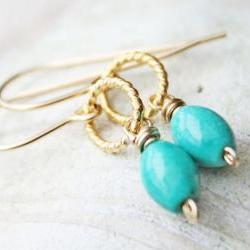 turquoise earrings, gold filled vermeil, light blue beach wedding