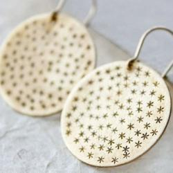 constellation gold star earrings, brass round, metalwork jewelry gold discs 14k gold fill fashion
