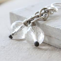 quartz earrings, sterling silver gemstone earrings, black white neutral, simple modern