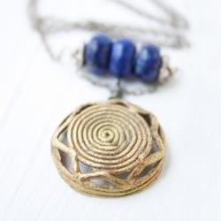 Boho lapis necklace, tribal fashion boho, vintage brass pendant, sterling silver, global