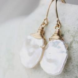Pearl earrings, white bridal earrings, wedding jewelry, gold, keishi keshi pearl, beach june birthday