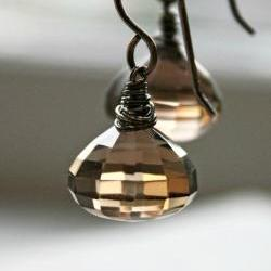 smoky quartz earrings faceted gemstone large sterling silver free shipping gift under 50