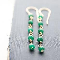 emerald earrings, green gemstone wire wrapped, 14k gold filled